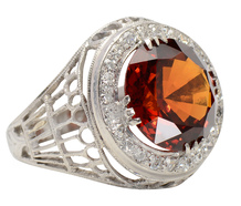 Hessonite Garnet Diamond Halo Ring