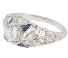 "Art Deco ""E"" Color Diamond Sapphire Ring"