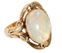 Art Nouveau White Opal Ring