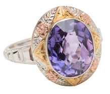 Tri-Color Blooms in an Amethyst Ring