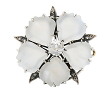 Moonstone Flower Diamond Brooch