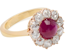 Art Deco Ruby Diamond Halo Ring