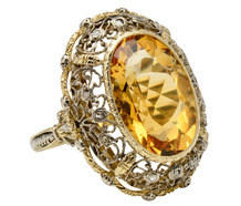 A Fancy Kiss - Citrine Diamond Tracery Ring