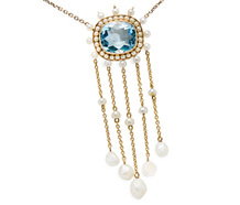 Rainfall of Pearls - Aquamarine Necklace
