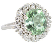 Summertime - Mint Green Beryl & Diamond Ring