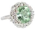 Summertime - Mint Green Beryl & Diamond Ring