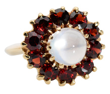 Fire Within - Moonstone Garnet Halo Ring