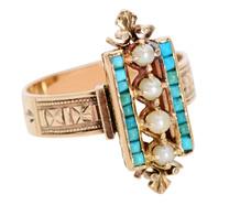 Smashing Victorian Pearl Turquoise Ring