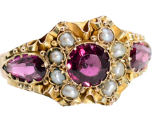 Ribbons of Gold - Victorian Garnet Pearl Ring