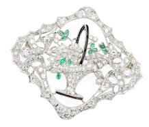 Basket Full of Diamonds & Emeralds Brooch