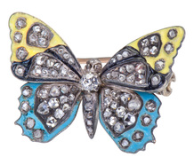 Sign of Spring - Diamond & Enamel Butterfly Brooch