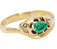 Albert's Kiss - Emerald & Diamond Snake Ring