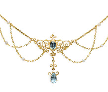 Turn of the Century Aquamarine Festoon Necklace
