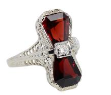 Art Deco Garnet Filigree Ring