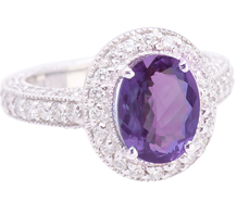 Color Change Alexandrite & Diamond Ring