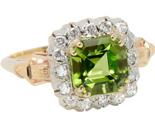 Vivid Peridot & Diamond Vintage Ring