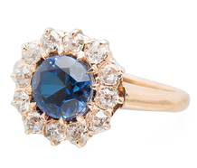 Mediterranean Mist - Sapphire Diamond Halo Ring