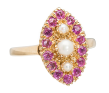 Pearl & Ruby Navette Shaped Ring