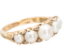 Edwardian Dance - Pearl & Diamond Ring