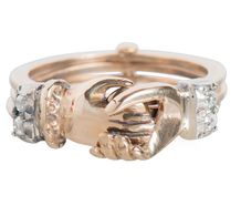 Diamond Set Hands in Heart Fede Ring