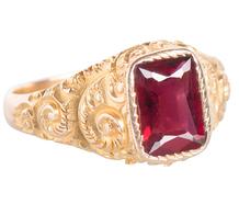 Scrolling Adornment - Garnet Gold Ring