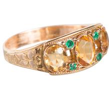 English Citrine Emerald Ring