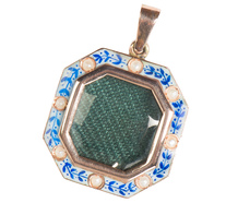 Octagonal Enamel & Rose Gold Locket