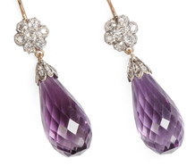 Briolette Amethyst & Diamond Pendant Earrings