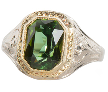 Paradise Green - Cushion Cut Tourmaline Ring