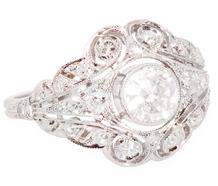 Radiant Parasol - Diamond Platinum Ring