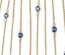 Art Nouveau Sapphire Pearl Long Chain