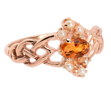 Braids of Gold in a Citrine Pearl Ring