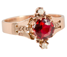 Victorian Flair - Garnet Pearl Ring