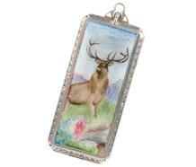 Vintage Enamel Elk Pendant
