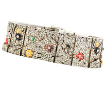Art Deco Paste & Enamel Sterling Bracelet