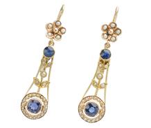Edwardian Sapphire Pearl Earrings