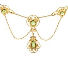 Symmetry - Edwardian Peridot Festoon Necklace