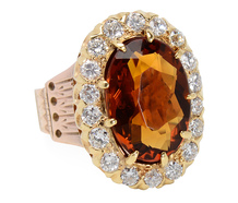 Vintage Citrine & Diamond Cluster Ring