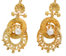 Archaeological Revival Diamond Earrings