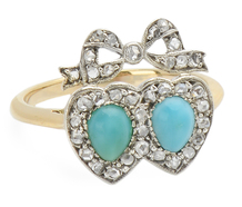 Double Heart Ring with Turquoise