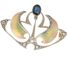 Art Nouveau Diamond Enamel Brooch
