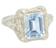 Ethereal Vintage Aquamarine Ring