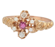 Ruby Diamond & Pearl Cluster Ring