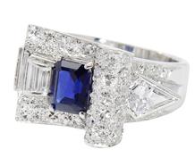 RetroRiffic Sapphire Diamond Buckle Ring