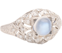 J.R. Woods Moonstone & Diamond Ring