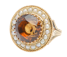 Vintage Dramatic Citrine Pearl Ring