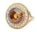 Vintage Dramatic Citrine Pearl Ring