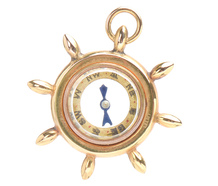 True North - Ship's Wheel Compass Pendant