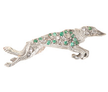 First to Finish -  Emerald Diamond Dog Brooch