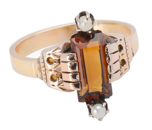 Edwardian Citrine & Pearl Ring